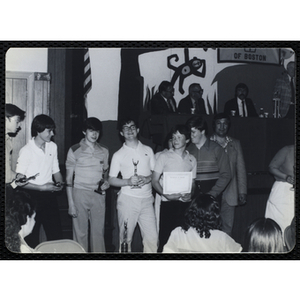 Award recipients standing in a line at a Boys' Clubs of Boston Awards Night