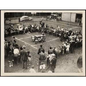 Bird's-eye view of a Boys' Club Pet Show at the Charles Hayden playground in South Boston