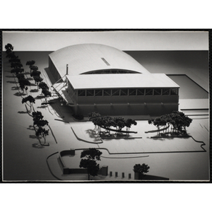 An architectural model of the Blue Hill Boys & Girls Clubhouse in Dorchester, Boston