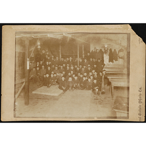 About seventy-five Boys' Club members pose for a group picture