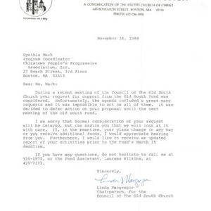 Funding decision letter from the Old South Fund advising the Chinese Progressive Association of its inability to provide funding for the adult education program