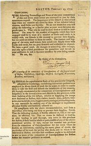 Boston, February 25, 1775. Gentlemen : The following Proceedings and Votes of the joint committees of this and seven other towns are conveyed to you by their unanimous request... At a meeting of the Committees of Correspondence of the several towns of Boston, Charlestown, Cambridge, Medford, Lexington, Watertown, Brookline and Concord ...