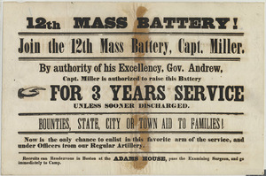 12th Mass Battery!: join the 12th Mass Battery, Capt. Miller.