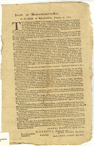 State of Massachusetts-Bay : In the House of Representatives, January 25th, 1777. The Perseverance of Britain in her Attempts to subjugate the Free States of America to an unconditional Submission to their arbitrary Impositions, demands a vigorous Perserverance in the Inhabitants of these States...
