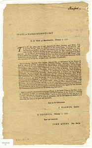 State of Massachusetts-Bay : in the House of Representatives, February 6, 1777 ...