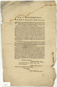 State of Massachusetts-Bay : In the House of Representatives, March 17th, 1777. Whereas it is indispensably necessary that the troops raised and raising in this State for the Continental Army, should be as soon as possible furnished with good Fire Arms and Accoutrements...