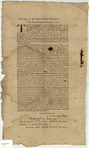 State of Massachusetts-Bay : In the House of Representatives, May 5, 1777. That the happiness of mankind depends very much on the Form and Constitution of Government they live under...