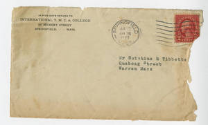 Envelope addressed to Mr. Hutchin H. Tibbetts (1927)
