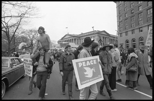 Anti-Vietnam War marchers in the streets of Washington during the Counter-inaugural demonstrations, 1969
