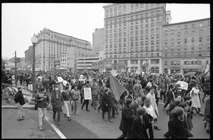 Anti-Vietnam War protesters march down Pennsylvania Avenue during the Counter-inaugural demonstrations, 1969