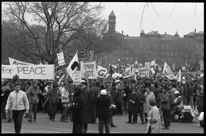 Anti-war protesters marching at the Counter-inaugural demonstrations, 1969, with police in the foreground