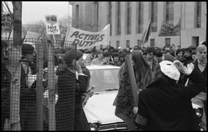 Anti-war marchers with banner for 'Active duty GIs': Counter-inaugural demonstrations, 1969, and march against the War in Vietnam