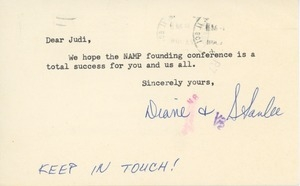 Card from Stanlee and Diane Kafka to Judi Chamberlin