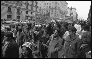 Anti-Vietnam War protesters marching down Pennsylvania Avenue during the Counter-inaugural demonstrations, 1969