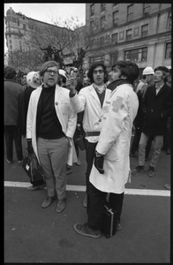 Anti-Vietnam War protesters in white coats during the Counter-inaugural demonstrations, 1969