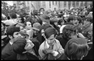 Anti-Vietnam War protesters milling about in the streets during the Counter-inaugural demonstrations, 1969