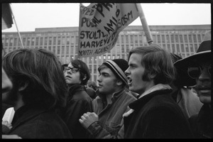 Anti-Vietnam War protesters marching in the streets during the Counter-inaugural demonstrations, 1969