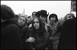 Anti-Vietnam War protesters huddled together during the Counter-inaugural demonstrations, 1969