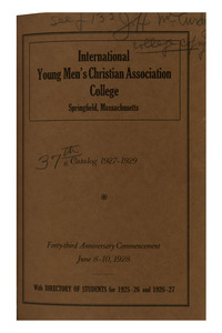 Thirty-Seventh Annual Catalog of the International Young Men's Christian Association College, 1927-1929
