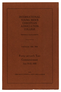Thirty-Eighth Annual Catalog of the International Young Men's Christian Association College, 1931-1933