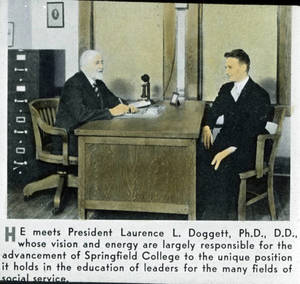 President Doggett with student