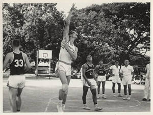 1965 Far East Tour, Member of Springfield College Men's Basketball Team Shoots Hook Shot