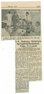 Newspaper Article, U.S. Embassy Invites Springfield College Men's Basketball Team to Lunch