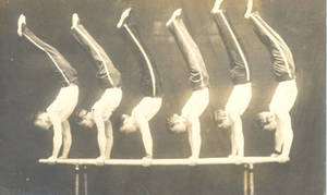 Postcard of Gymnasts on Parallel Bars