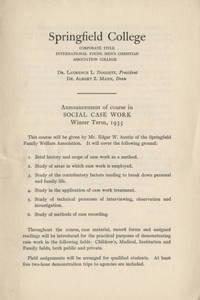 Social Work Course Announcement (Winter 1935)