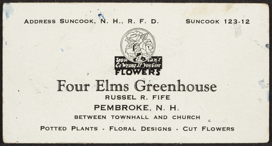 Trade card for Four Elms Greenhouse, Russel R. Fife, Pembroke, New Hampshire, undated