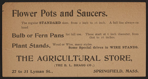 Trade card for The Agricultural Store, B.L. Bragg Co., 27 to 31 Lyman Street, Springfield, Mass., undated