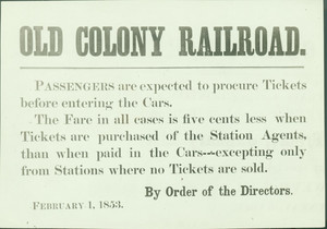 Old Colony Railroad notice, location unknown, February 1, 1853