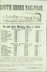 South Shore Railroad schedule, Cohasset, Mass., April 29, 1859