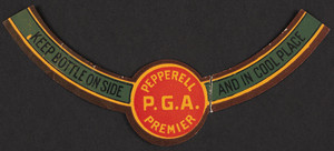Label for Pepperell P.G.A. Premier, Pepperell Spring Water Company, Pepperell, Mass., undated