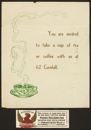 Phoenix Coffee Mills, 62 Cornhill, Boston, Mass., undated