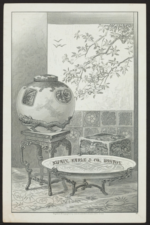 Greeting card for Swain, Earle & Co., teas, coffee, spices and fancy groceries, 63 & 65 Commercial Street, Boston, Mass., December 1, 1880