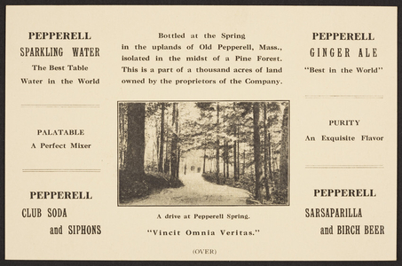 Trade card for the Pepperell Spring Water Co., Pepperell Mass., dated March 7, 1916