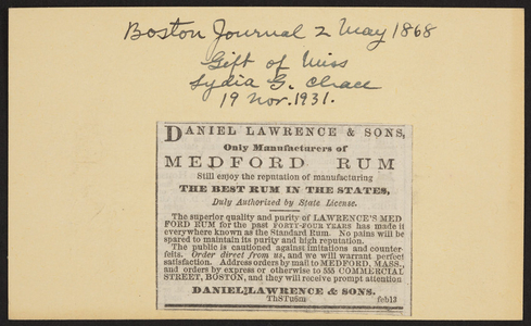 Advertisement for Daniel Lawrence & Sons, Medford Rum, Medford, Mass. and 555 Commercial Street, Boston, Mass., February 13, 1868