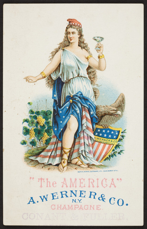 Trade card for The America Champagne, A. Werner & Co., New York, New York, undated
