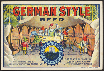 Label for German Style Beer, Peter Bub Brewery, Winona, Minnesota, 1933