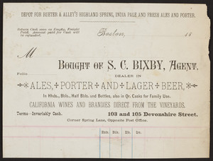 Billhead for S.C. Bixby, ales, porter and lager beer, 103 and 105 Devonshire Street, Boston, Mass., ca. 1800