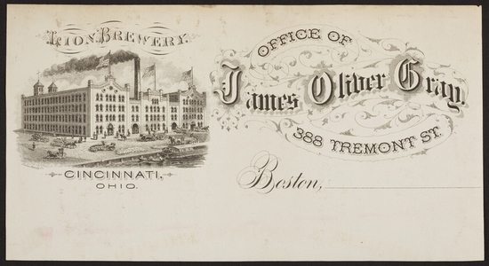 Billhead for James Oliver Gray, Lion Brewery, 388 Tremont Street, Boston, Mass., ca. 1800