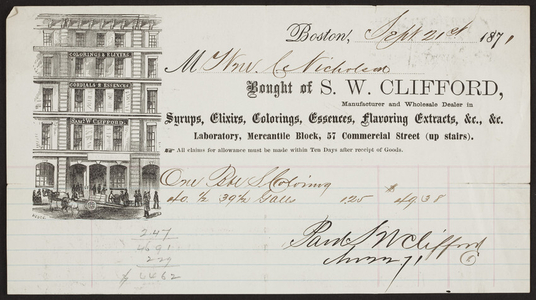 Billhead for S.W. Clifford, syrups, elixirs, Laboratory, Mercantile Block, 57 Commercial Street, Boston, Mass., dated September 21, 1871