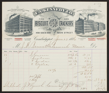 Billhead for F.A. Kennedy Co., fine biscuit and crackers, 498, 500 & 502 Main Street, Cambridgeport, Mass., dated January 27, 1886