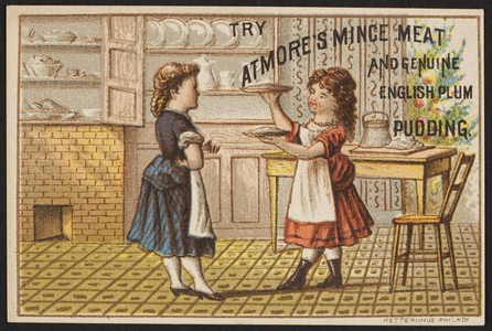 Trade card for Atmore's mince meat and genuine English plum pudding, 141 South Front Street, Philadelphia, Pennsylvania, undated