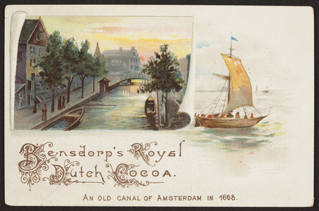 Trade card for Bensdorp's Royal Dutch Cocoa, Steph. L. Bartlett, importer, Boston, Mass., undated