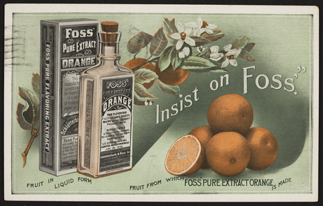 Insist on Foss, Foss' Pure Extract Orange, Schlotterbeck & Foss Co., Portland, Maine, dated June 9, 1911