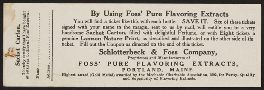 Ticket for Foss' Pure Flavoring Extracts, Schlotterbeck & Foss Company, Portland, Maine, undated