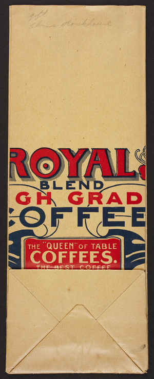 Bag for Royal Blend High Grade Coffee, Dwinell-Wright Co., 311-319 Summer Street, Boston, Mass. and 57 Michigan Ave, Chicago, Illinois, undated