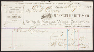 Billhead for M. Engelhardt & Co., Rhine & Moselle wines, champagne, California wines and fine liquors, 30 Avery Street, Boston, Mass., dated May 8, 1882